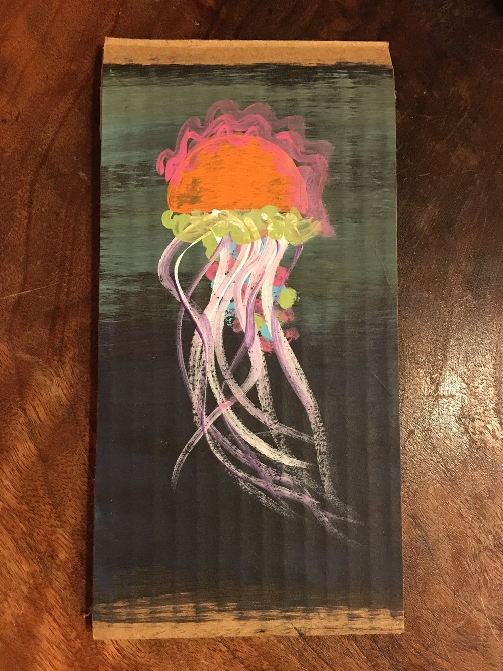 Jelly.  Acrylic on cardboard