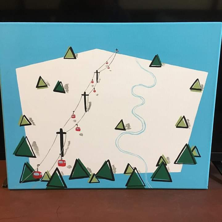 Rigid Mountain Ski Area.  Acrylic on convas
