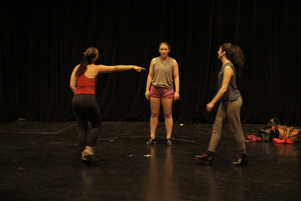 "Sans Limites Spring Season 2016 at the Hudson Guild Theater in June, 2016. kamrDANCE presented two pieces, ""We [don't] Rehearse on Tuesday's"", pictured here with dancers Stephanie Grover, Ginny Mottla, and Alexis Robbins, as well as ""Please Be Kind if I'm a Mess""."