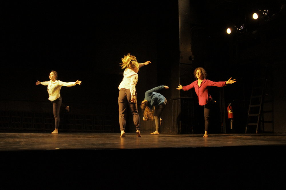 "Sans Limites Winter Season 2015 at the Connelly Theater. kamrDANCE performed ""settle, rebound repeat"" for the fifth time in 2015. Dancers: Briana Giordano, Martha Lavery, Becki Winer, and Caitlin Sheppard."