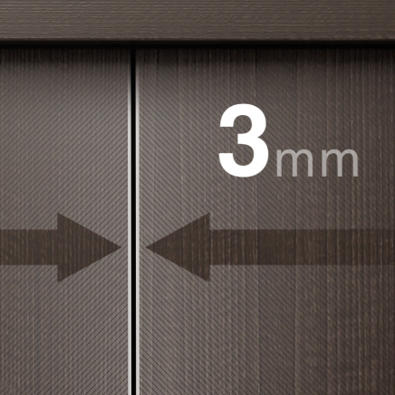 A gap as small as 3mm can be achieved between adjacent doors.