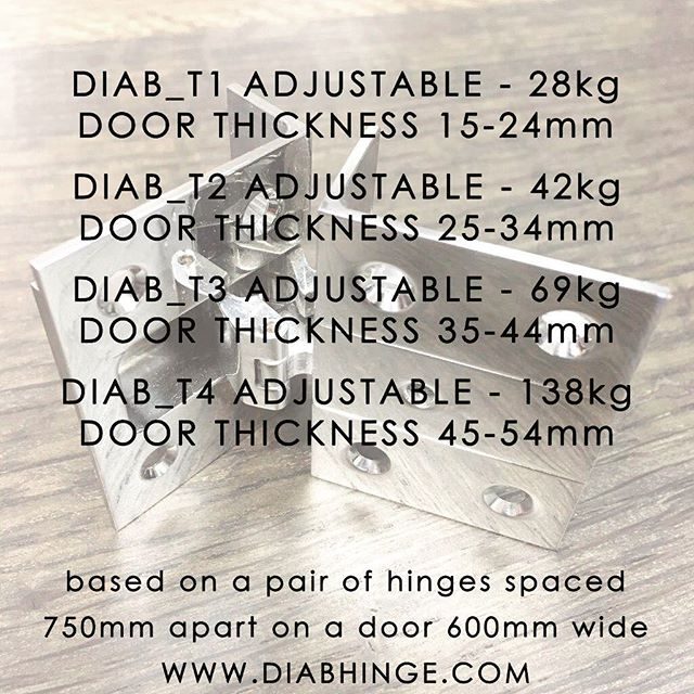 D I A B _ Range Weight loadings for our Stainless Steel adjustable Range.  #diabhinge #ironmongery #architecturalironmongery #hardware #cnc #machined #hinge #bespoke #cabinetmaker #cabinetry #furniture #furnituremaker #luxury #highend #joinery #interiors #design #detail