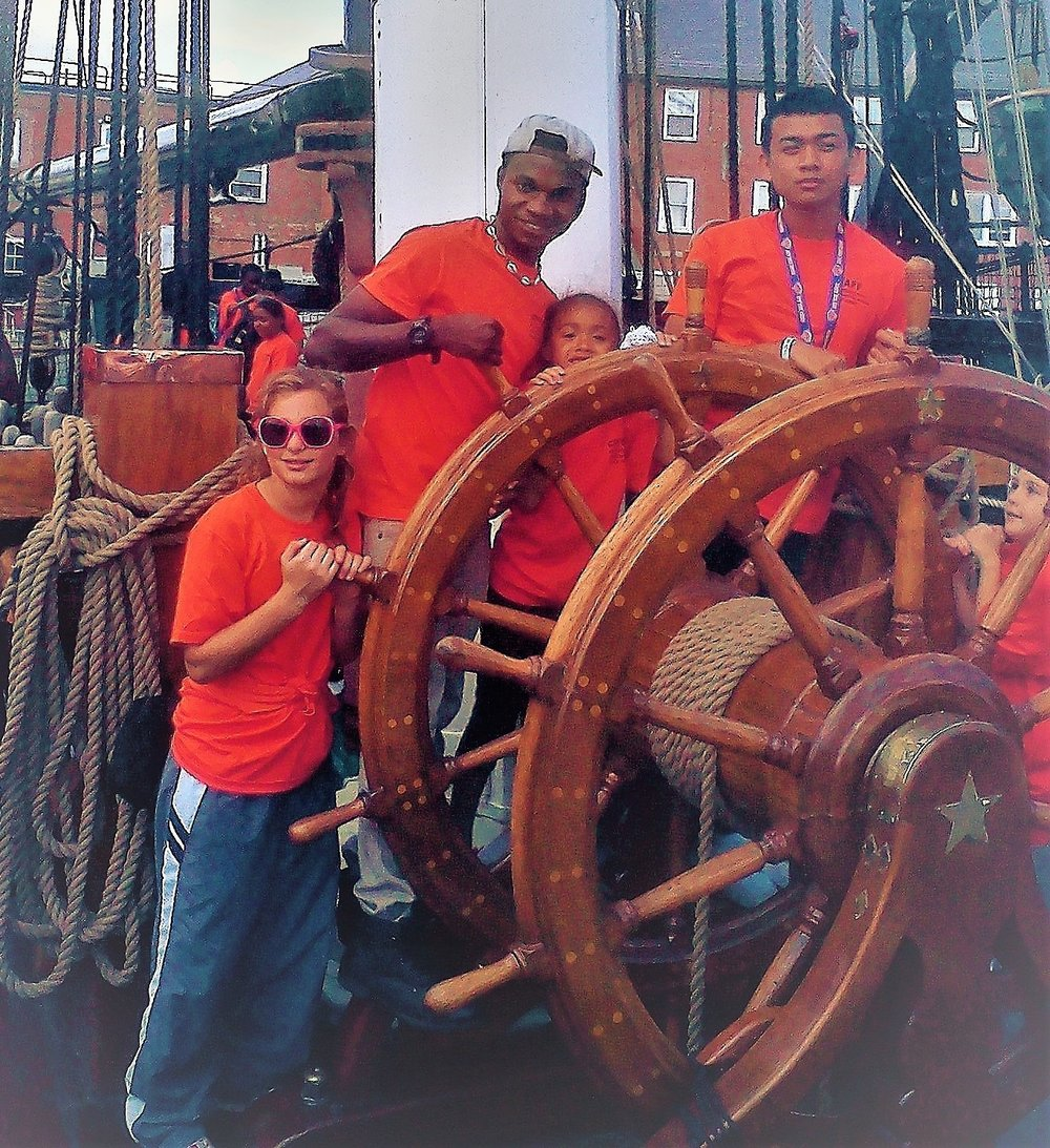 Camp mentors take the wheel of the USS Constitution