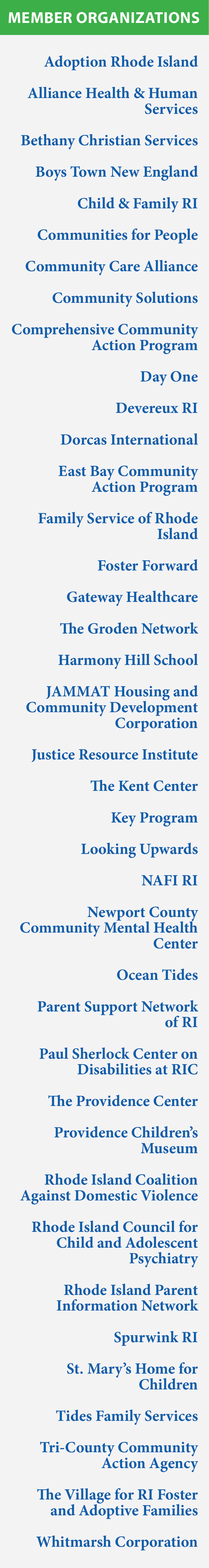 Rhode Island Coalition for Children and Families (RICCF) member organizations.
