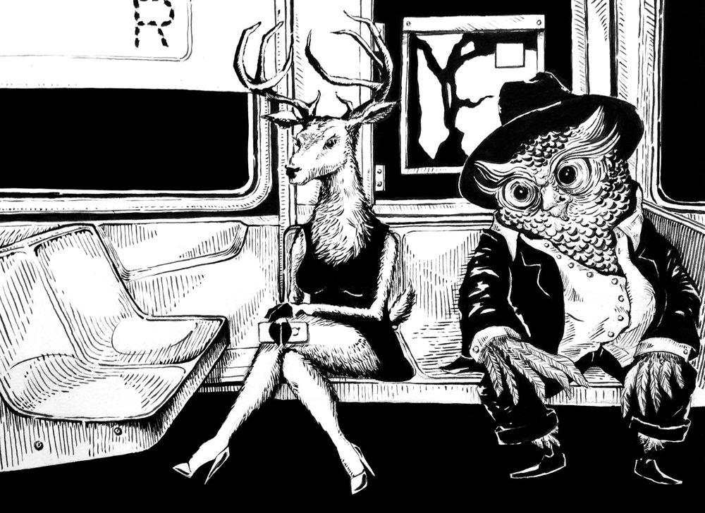 Creepy guy in the R Train. Summer 2014.