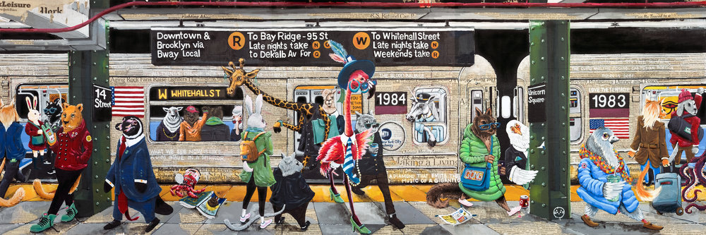 """W Train    18""""x 60"""". Acrylic over Illustration board. W Train Manhattan Bound, Winter 2016   The train depicts an ordinary scene in New York City life: people waiting to get on the train while others rush out. On a backdrop of collaged newspaper, colorful, personified animals show the vibrancy of city life, on the one hand, and, on the other, point toward a darker reality, namely, that of life against a backdrop of intense mediatization."""