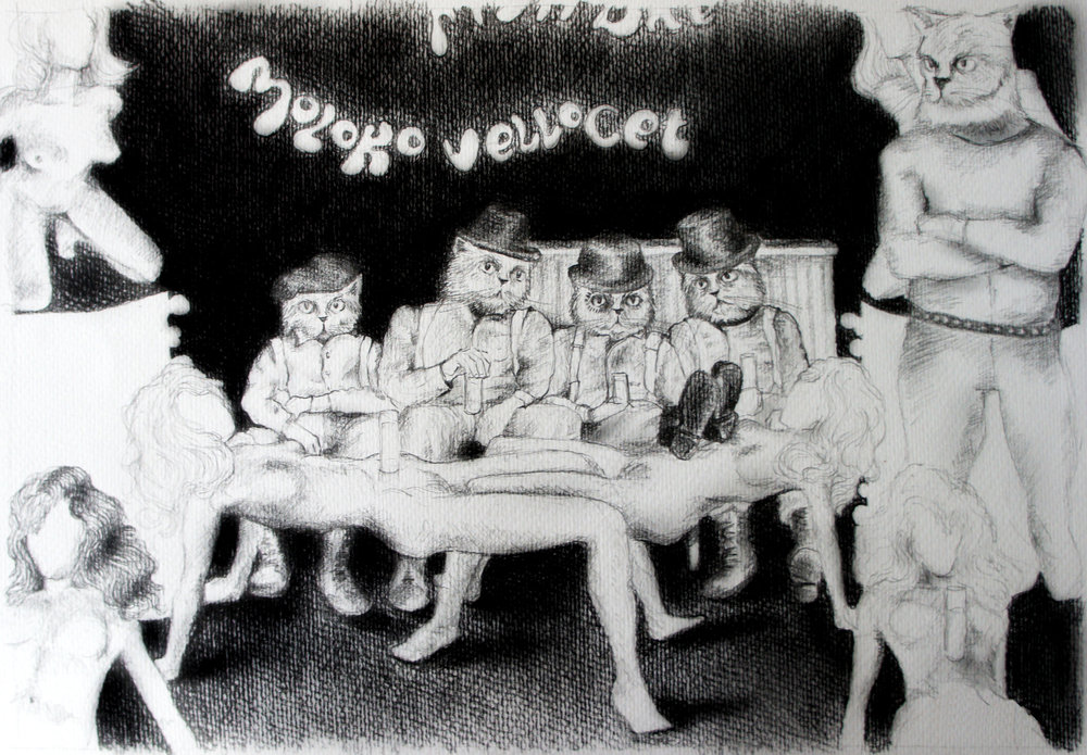 "Clockwork Orange. Charcoal over paper, 16""x12"""