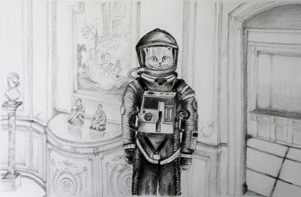 "A Space Odyssey 2001. Charcoal over paper, 16""x12"""
