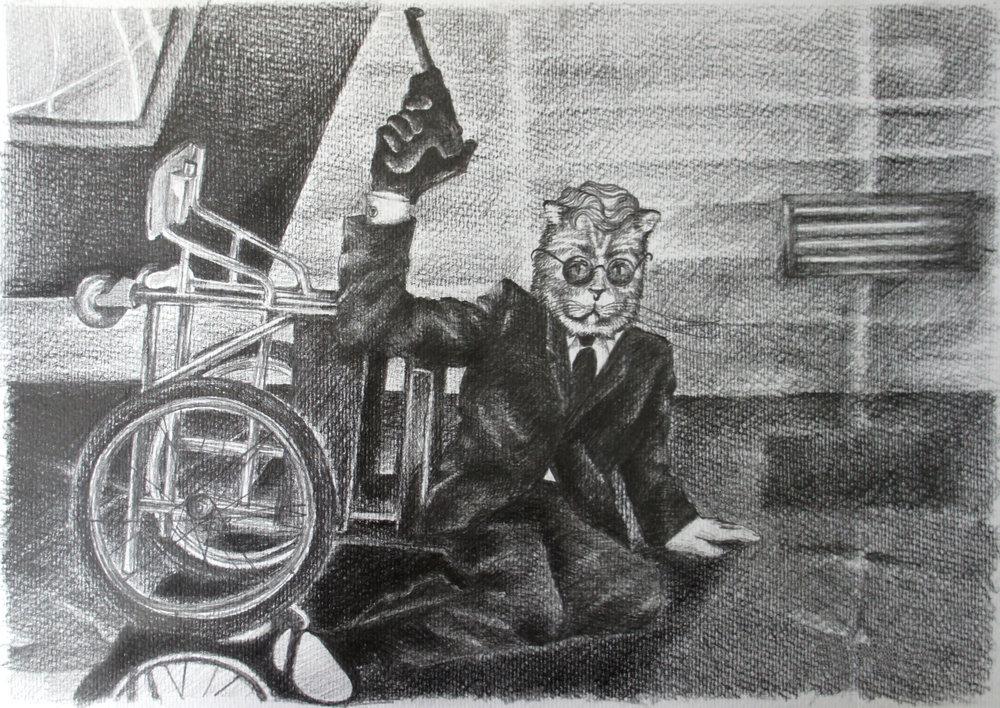 "Dr. Strangelove. Charcoal over paper, 16""x12"""