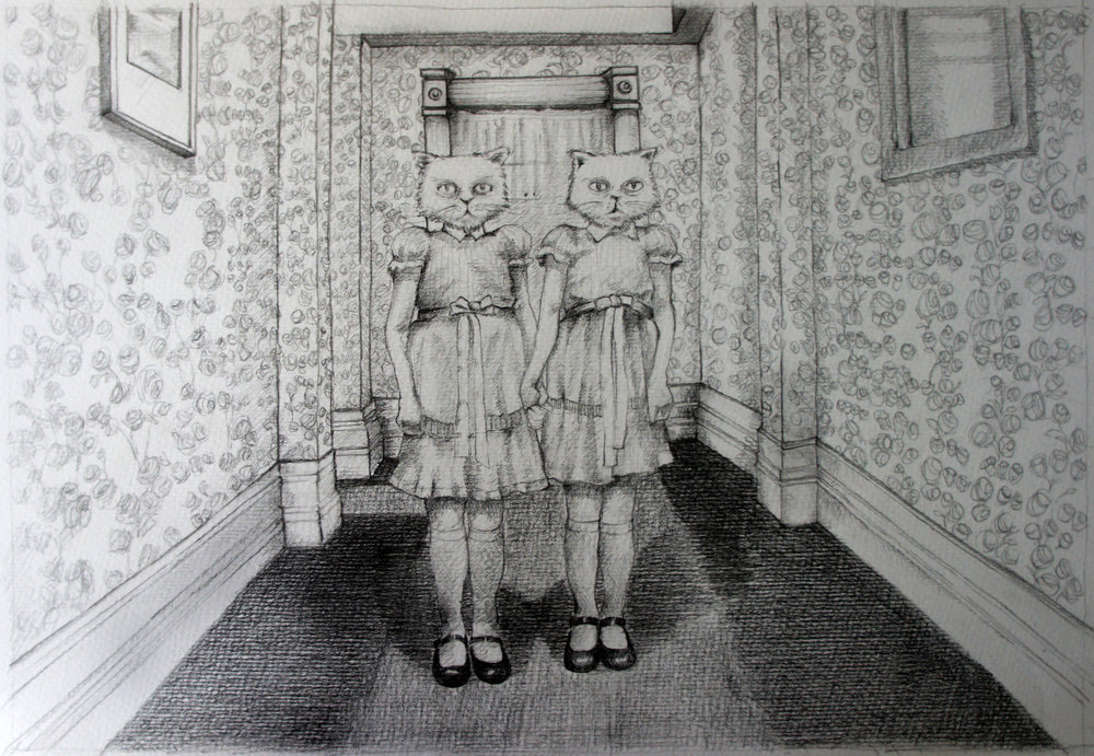 "The Shining. Charcoal over paper, 16""x12"""