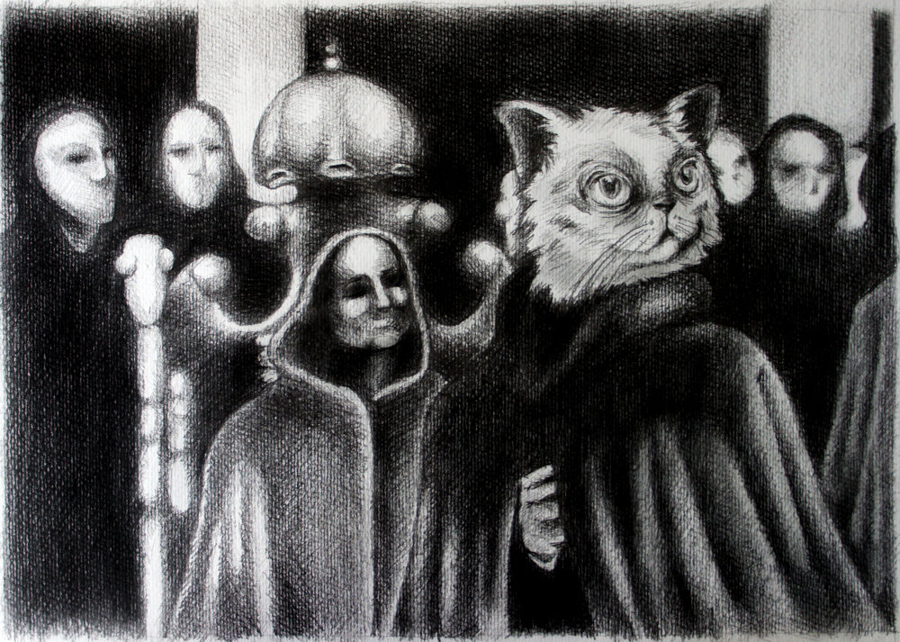 "Eye Wide Shut. Charcoal over paper, 16""x12"""