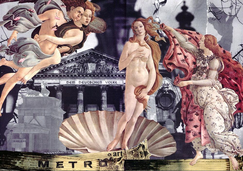 "Metro/Art. Collage over wood. 11""x17"""