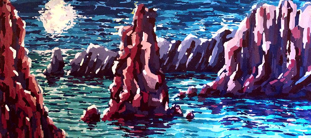 "Nocturnal Beach 3. Acrylic over canvas, 36""x24""."