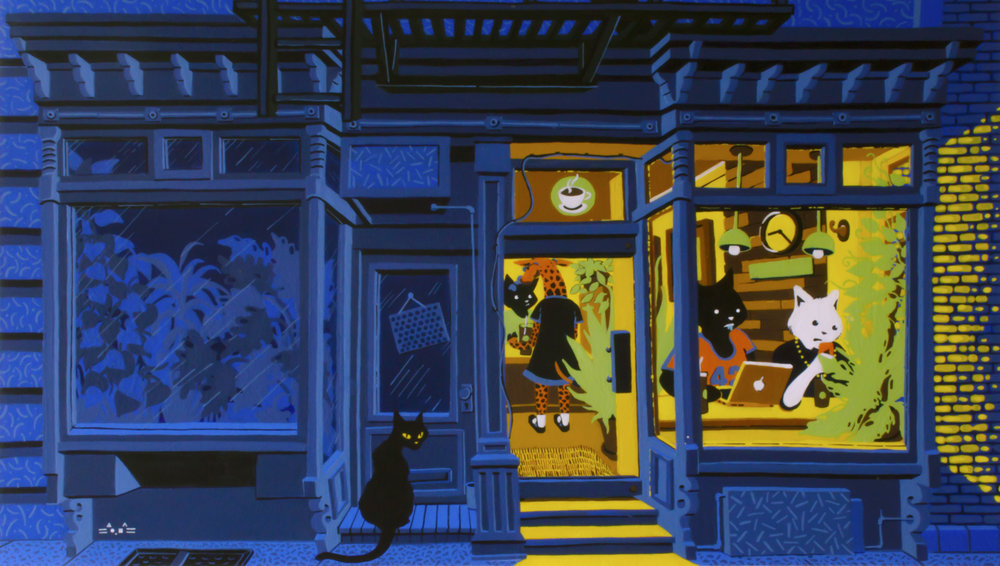 """Latterday Nighthawks    14""""x 24 Acrylic over Illustration board. West Village, Summer 2017   In New York, as in so many other cities, gentrification has meant displacement and visually marked the cityscape. Here, an illuminated coffee shop welcomes colorful characters. Just next door, however, an abandoned storefront implies another story and imparts to the viewer a sense of loss in contrast to the hyper-branded, impersonal, and generic spaces that both claim place and dis-place."""