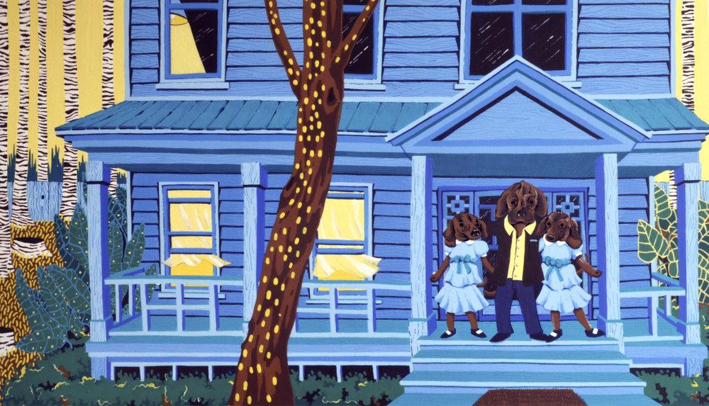 "Midwood House    14""x 24"" Acrylic over illustration board. Brooklyn, Summer 2017"
