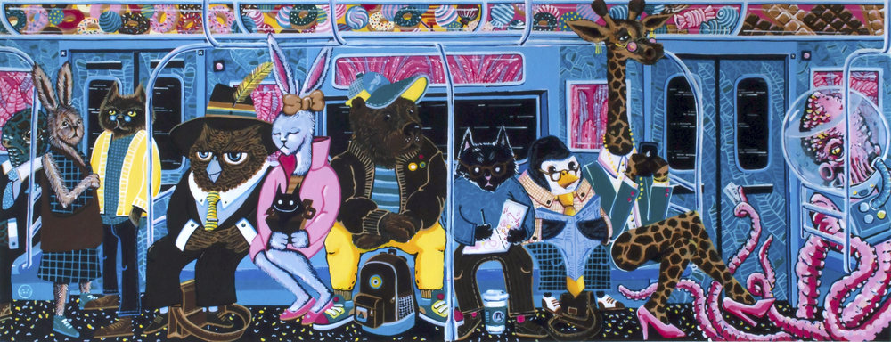 """The Commuters .   12""""x 30"""" Acrylic over Illustration board. L Train Brooklyn Bound, Fall 2017"""