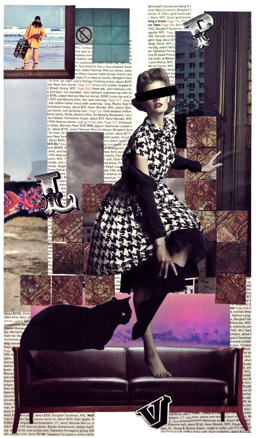 """No name . Collage over paper, 11""""x17"""""""