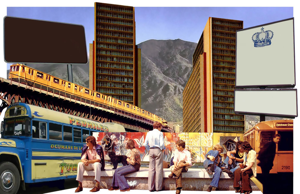 "Caracas, Not Berlin. Collage over wood. 11""x17"""