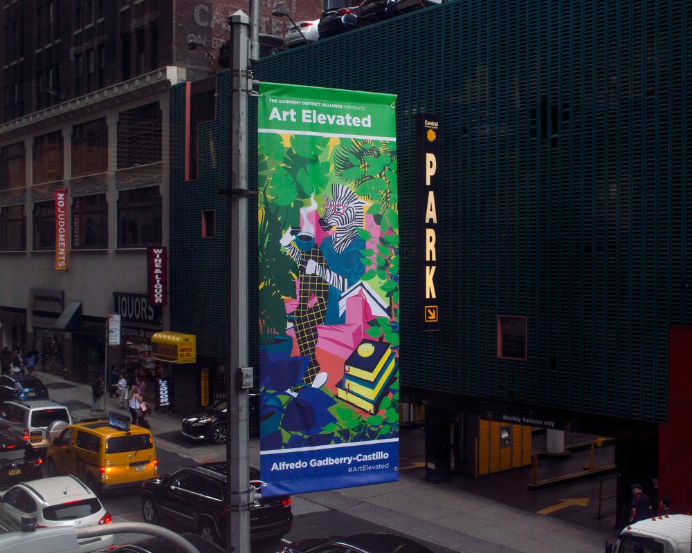 "Zebra Lady   ""Zebra Lady""was selected for  #ArtElevated , the first street exhibition organized by  Orangenius  and the  The Garment District , on display on 38th Street in Manhattan."
