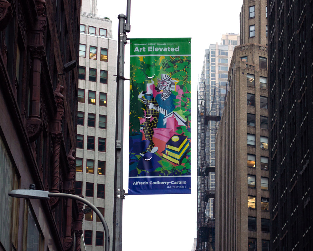"""Zebra Lady   """"Zebra Lady""""was selected for  #ArtElevated , the first street exhibition organized by  Orangenius  and the  The Garment District , on display on 38th Street in Manhattan."""