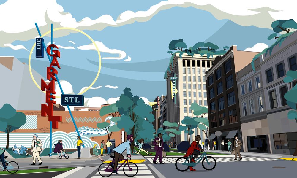 Visualization of the Washington Avenue. Signage study.