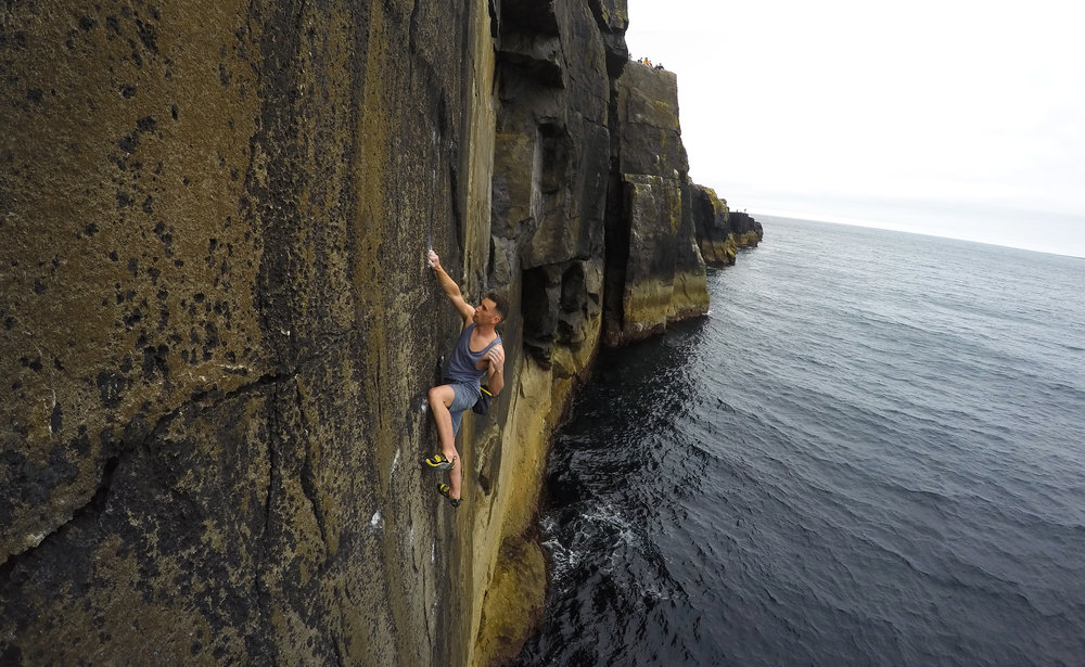 John Howard on a deep water solo in Ireland. Photo: Peter Linney