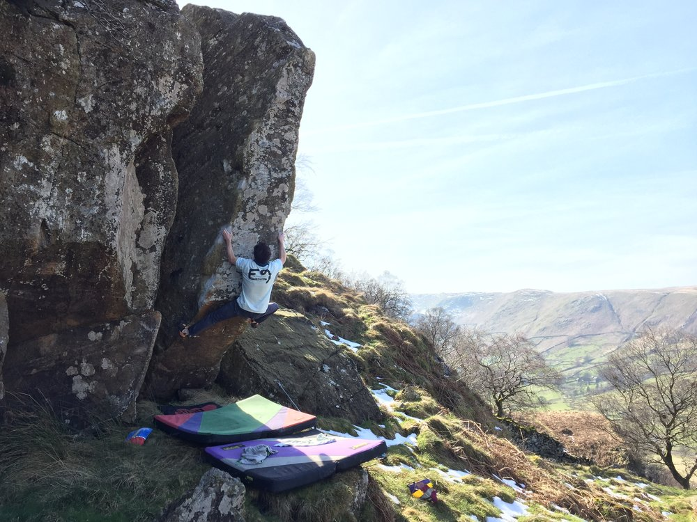 Coconutter Sit  7c (V9) at Gouther in the Lake District. Photo Tim Stubley