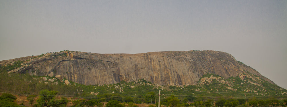 Varlakonda, a crag on the Bangalore-Hyderabad highway - once vulnerable rock, now secured by Government orders.