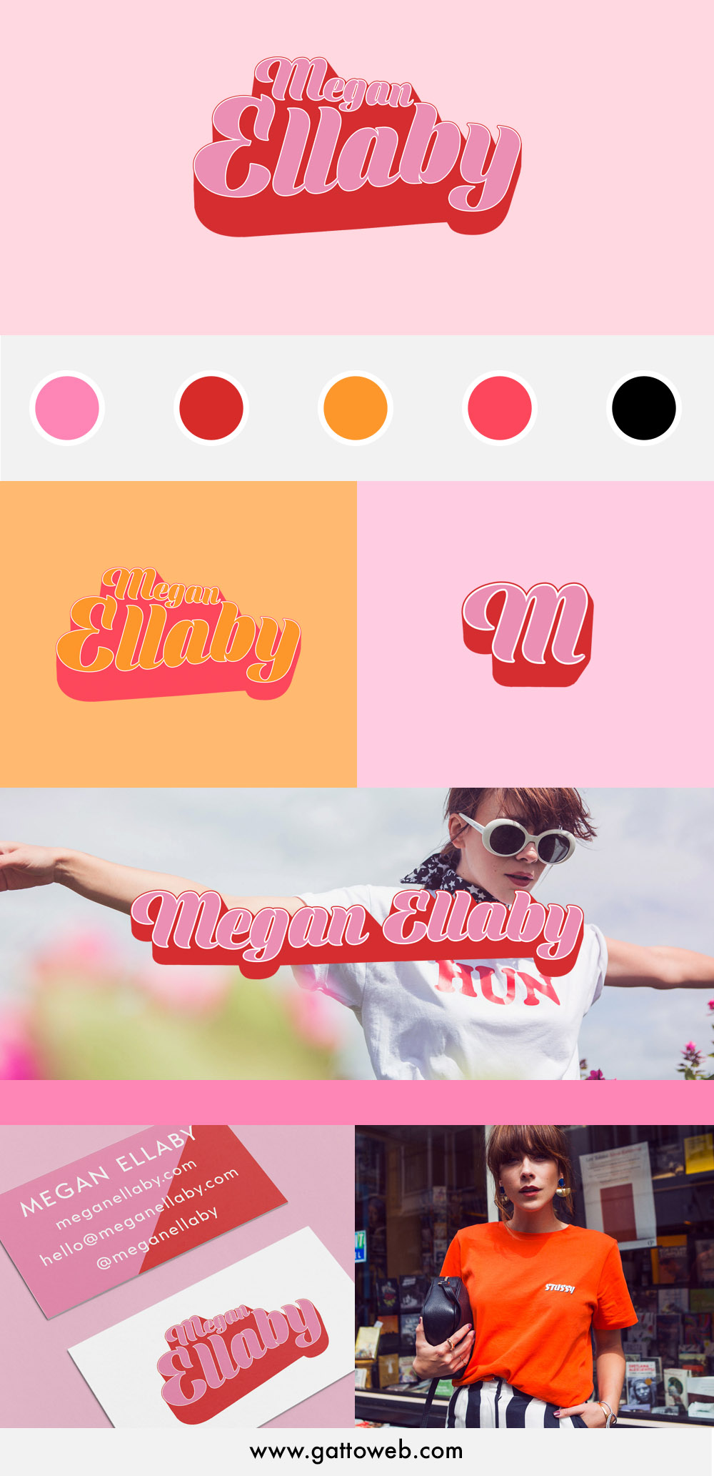 Megan Ellaby Branding Project | Retro 70s 60s branding design | Logo collateral submark | Gatto Branding and Website Design