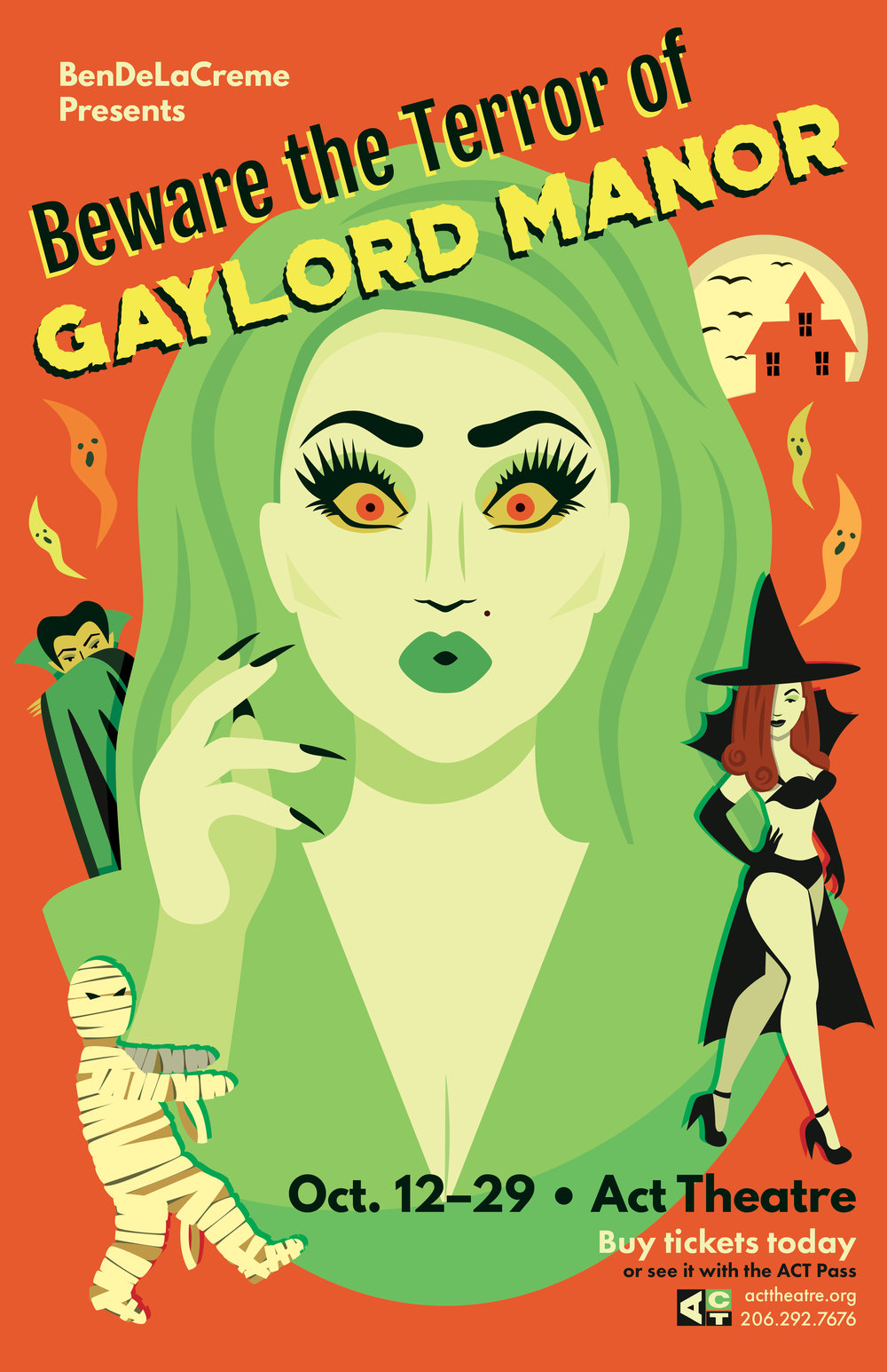 Poster re-design for Beware the Terror of Gaylord Manor at the Act Theatre.