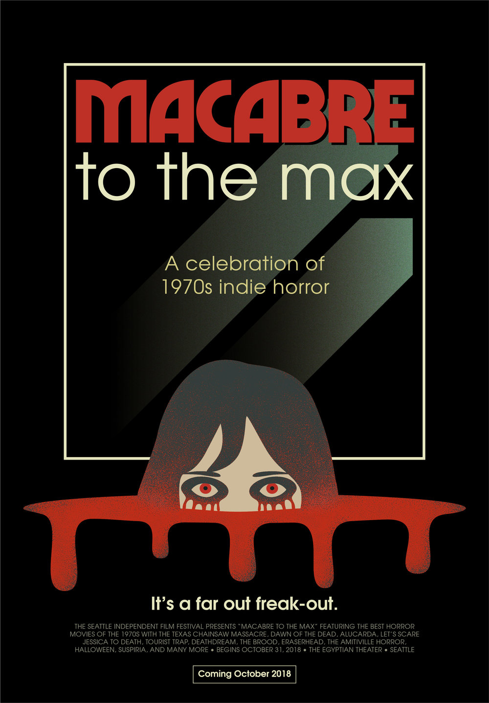 Poster design for a fictional 1970s independent horror film festival, Macabre to the Max.