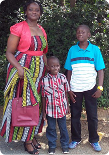Irene and her two sons in Nairobi
