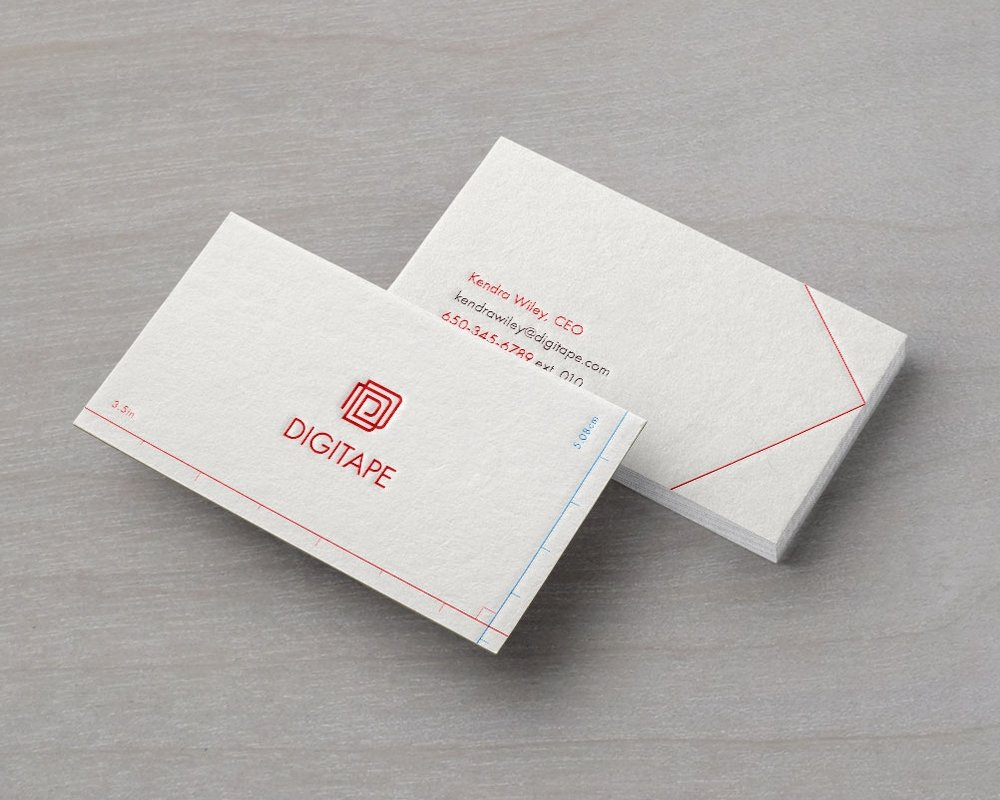 - Digitape's company business cards feature a ruler in both centimeters and inches along the edges of the card—an analog approach to making measurements that you can keep in your wallet.