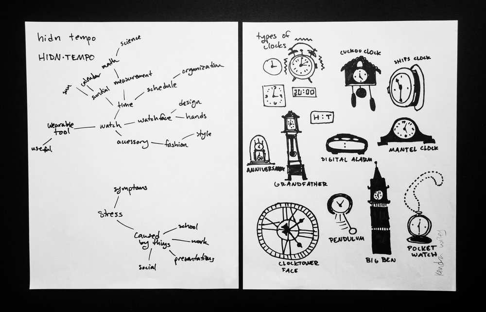 - Preliminary research on the product was conducted to gain an understanding of the principles of the concept. Word maps and visual sketches of different types of clocks were created.