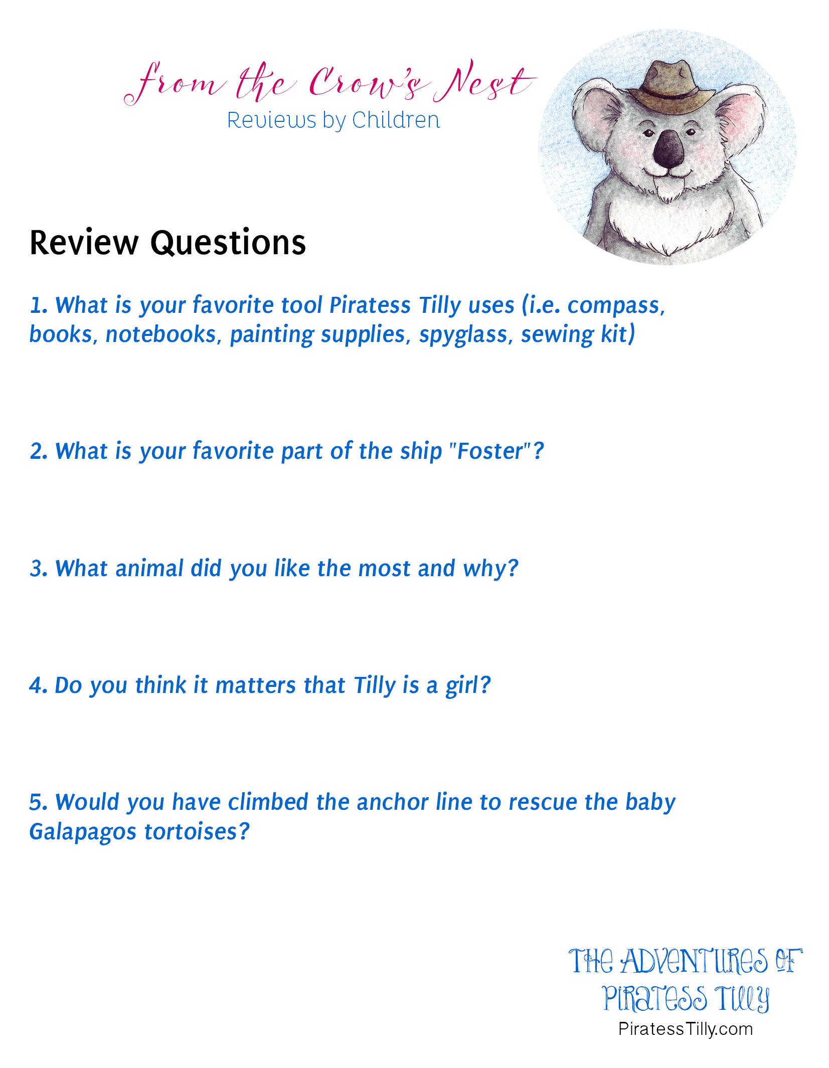 Piratess Tilly Children's Book Review Questions