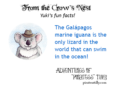 "Adventures of ""Piratess"" Tilly, children's picture book, fun facts: marine iguana"
