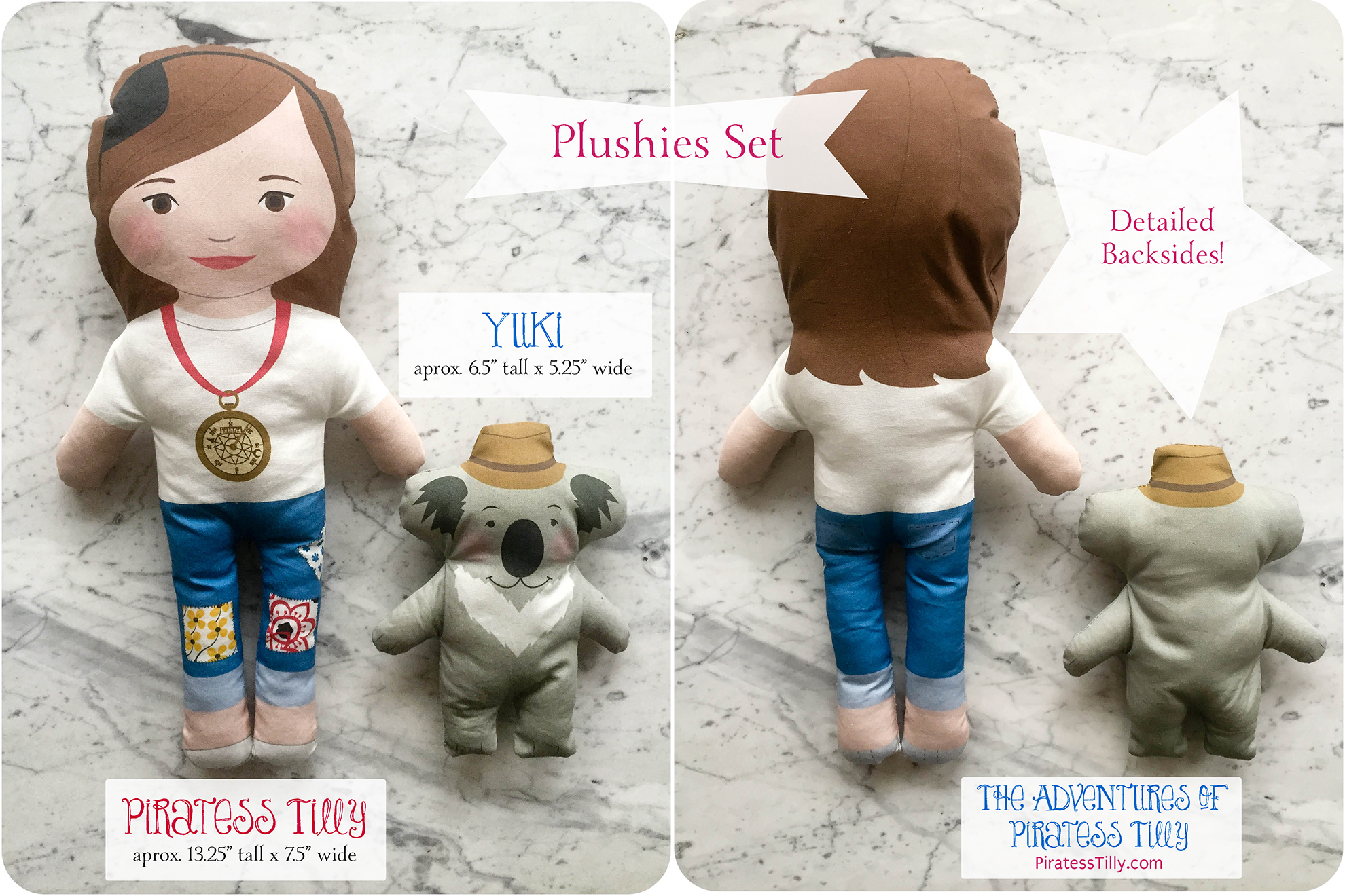 Piratess Tilly and Yuki Plushie listing double pic BC