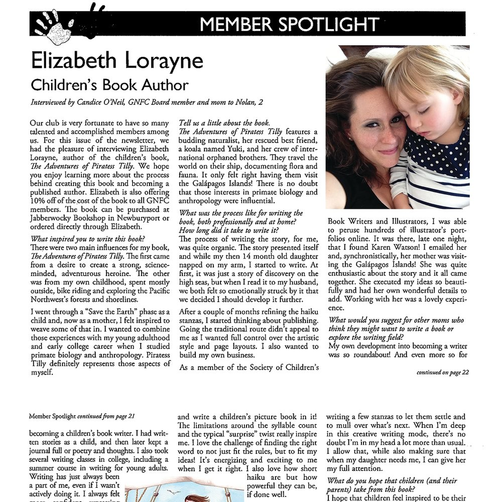 "Interviewed for the ""Member Spotlight"" in the Greater Newburyport Mother's Club newsletter"