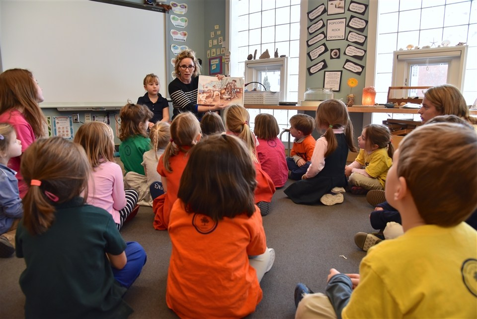 Elizabeth Lorayne reading at Shore Country Day School in Beverly, MA