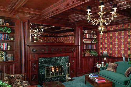 Mahogany den with coffered ceiling