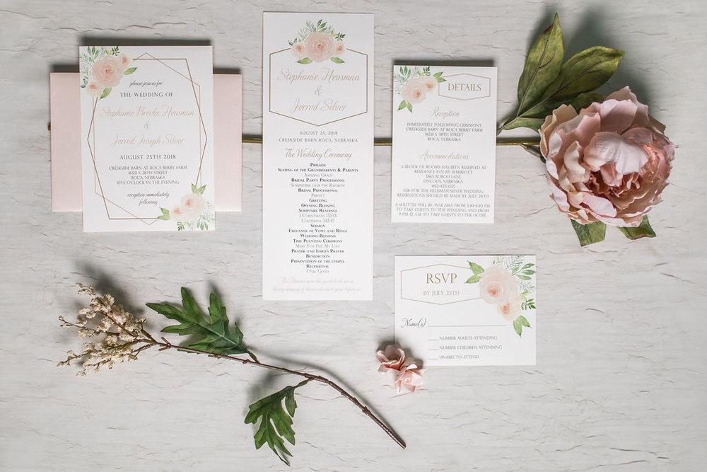 blush gold hexagon floral wedding invitation
