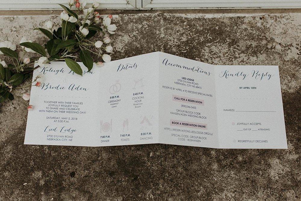 accordion fold wedding invitation