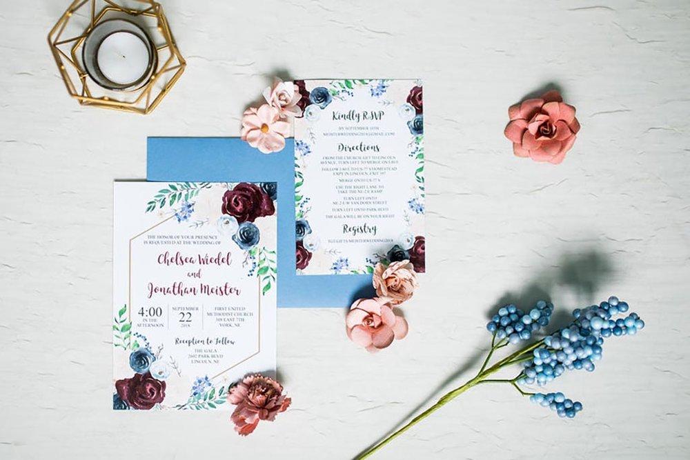 burgundy navy gold floral hexagon wedding invitation