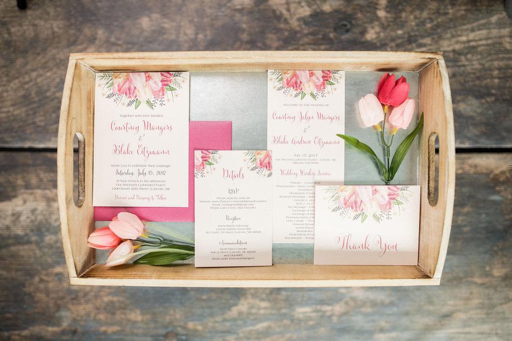 pink peach tulip wedding invitation