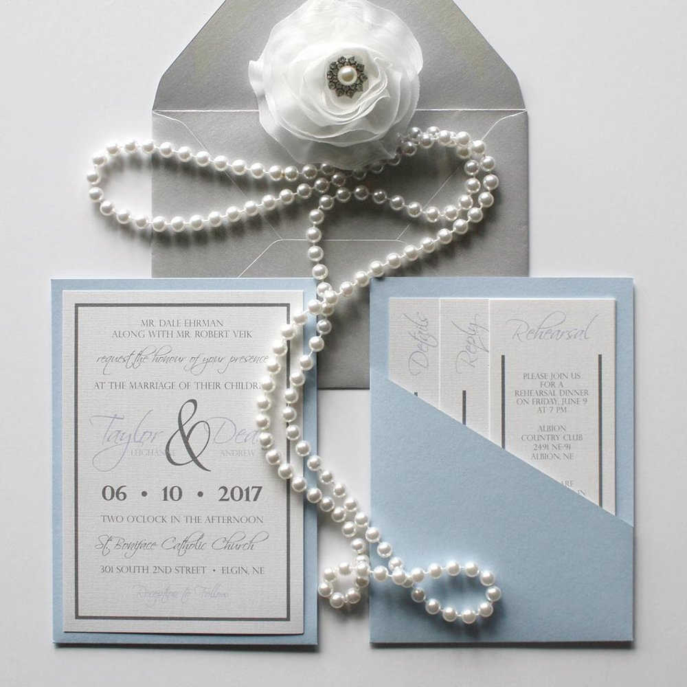 modern blue pocket wedding invitation