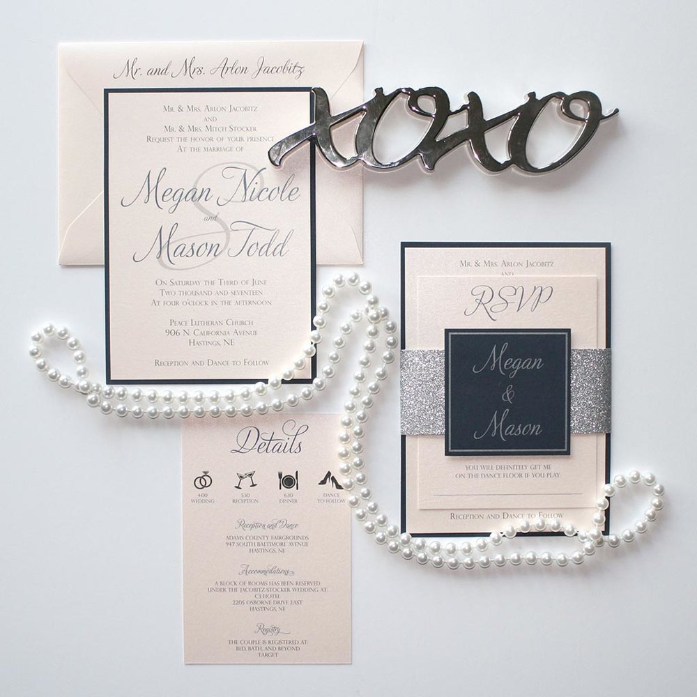 navy blush silver glitter wedding invitation