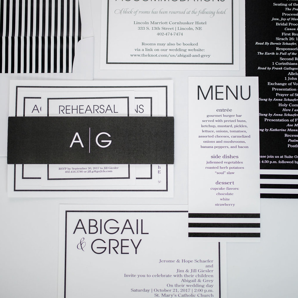 modern black white stripe wedding invitation program menu