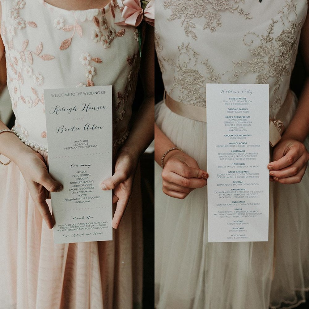navy blush wedding program