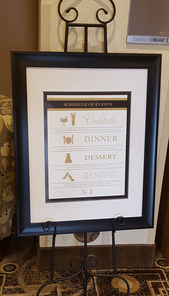 schedule of events wedding reception sign