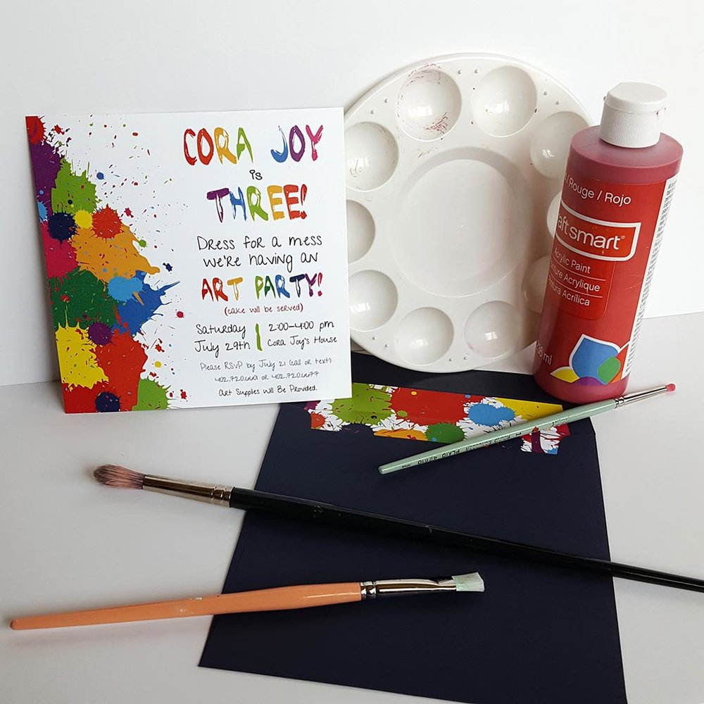 kids painting birthday invitation